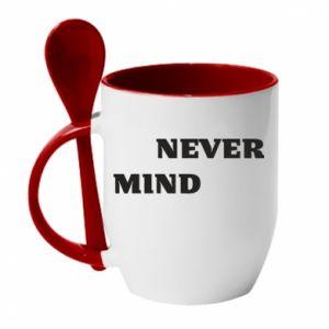 Kubek z ceramiczną łyżeczką Never mind