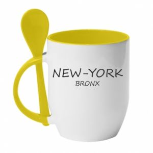 Kubek z ceramiczną łyżeczką New-York Bronx - PrintSalon