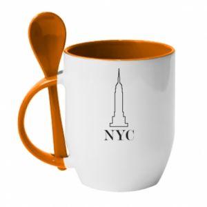Kubek z ceramiczną łyżeczką New york tower