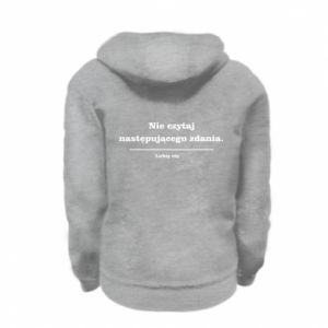 Kid's zipped hoodie % print% Do not read the following sentence...