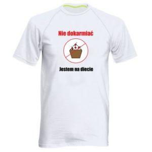 Męska koszulka sportowa Nie dokarmiać. Jestem na diecie