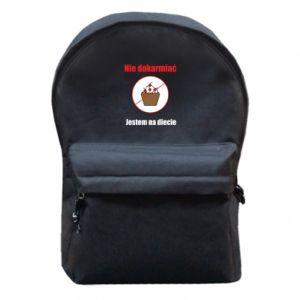 Plecak z przednią kieszenią Nie dokarmiać. Jestem na diecie