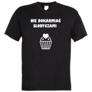 Men's V-neck t-shirt Do not feed...