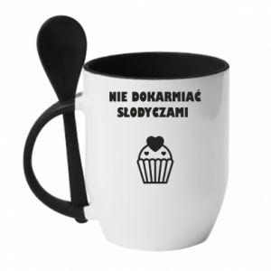 Mug with ceramic spoon Do not feed... - PrintSalon