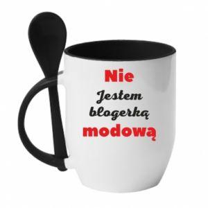 Kubek z ceramiczną łyżeczką Nie jestem blogerką modową