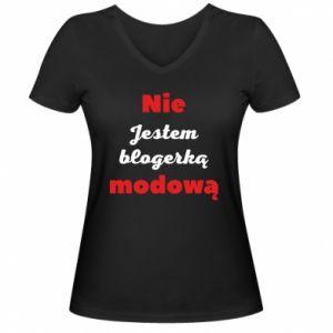 Damska koszulka V-neck Nie jestem blogerką modową