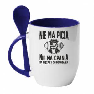 Kubek z ceramiczną łyżeczką Nie ma picia nie ma ćpania