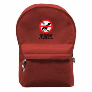 Plecak z przednią kieszenią Nie rzucać petardami w dinozaury
