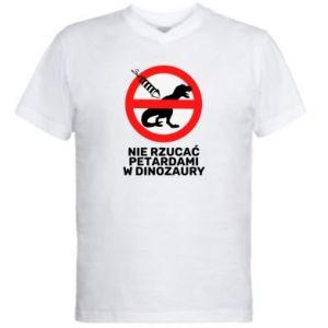 Koszulka V-neck męska Nie rzucać petardami w dinozaury