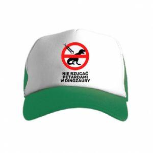 Czapka trucker dziecięca Nie rzucać petardami w dinozaury