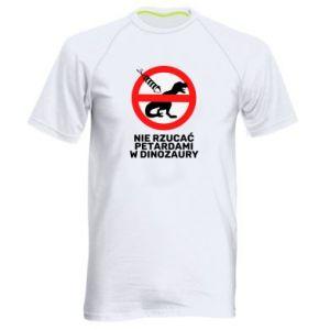 Koszulka sportowa męska Nie rzucać petardami w dinozaury