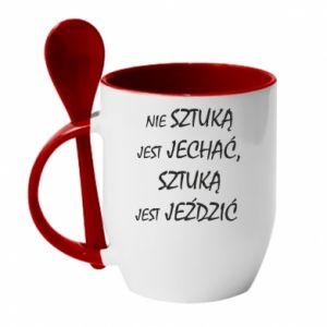 Mug with ceramic spoon It is not an art to go... - PrintSalon