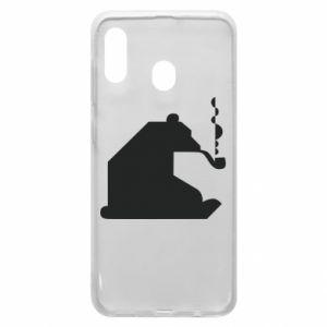Etui na Samsung A30 Niedźwiedź z fajką
