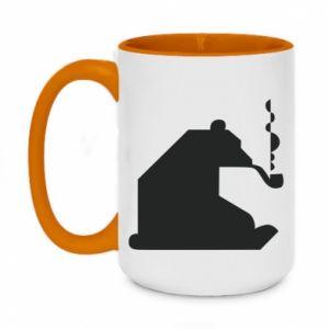 Kubek dwukolorowy 450ml Niedźwiedź z fajką