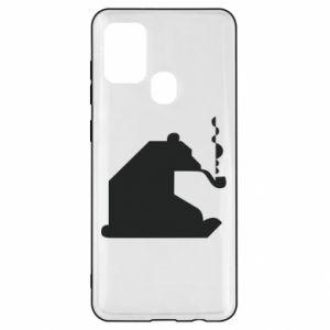 Etui na Samsung A21s Niedźwiedź z fajką