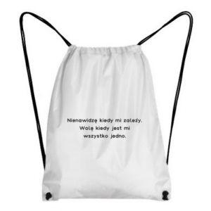 Plecak-worek Nienawidzę kiedy mi zależy