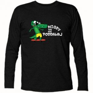 Long Sleeve T-shirt Never give up, with crocodile - PrintSalon