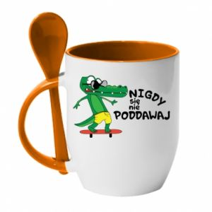 Mug with ceramic spoon Never give up, with crocodile - PrintSalon