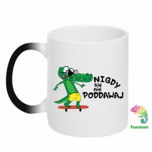 Chameleon mugs Never give up, with crocodile - PrintSalon