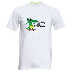Men's sports t-shirt Never give up, with crocodile