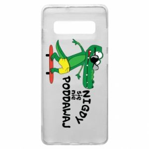 Phone case for Samsung S10+ Never give up, with crocodile