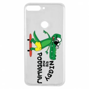 Phone case for Huawei Y7 Prime 2018 Never give up, with crocodile