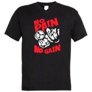 Męska koszulka V-neck No pain No gain