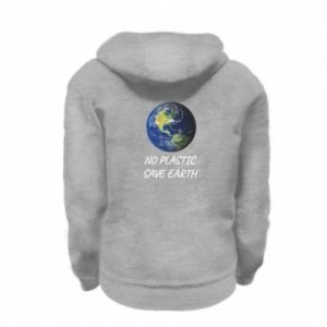 Kid's zipped hoodie % print% No plastic save earth