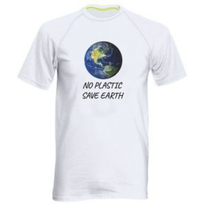 Men's sports t-shirt No plastic save earth