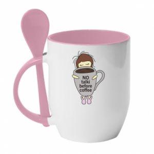 Kubek z ceramiczną łyżeczką No talki before coffee