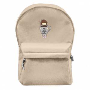 Plecak z przednią kieszenią No talki before coffee