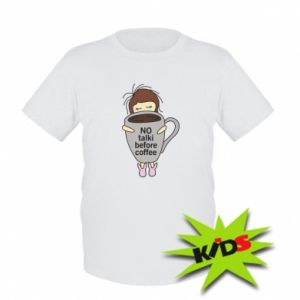 Kids T-shirt No talki before coffee