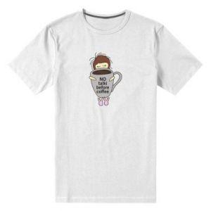 Męska premium koszulka No talki before coffee