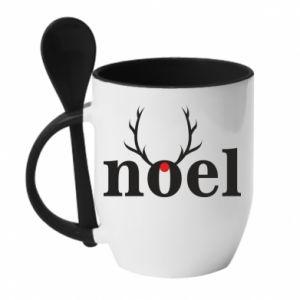 Kubek z ceramiczną łyżeczką Noel