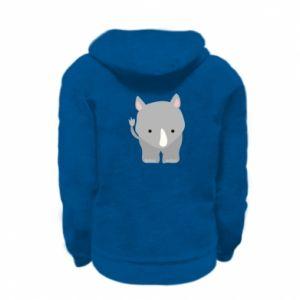 Kid's zipped hoodie % print% Rhinoceros