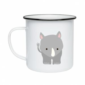 Enameled mug Rhinoceros