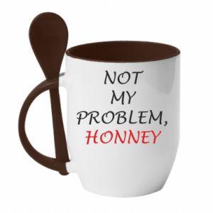 Kubek z ceramiczną łyżeczką Not my problem, honny