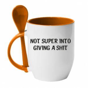 Kubek z ceramiczną łyżeczką Not super into giving a shit
