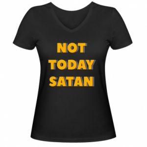 Damska koszulka V-neck Not today satan