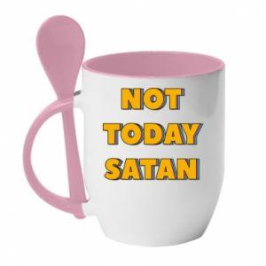 Kubek z ceramiczną łyżeczką Not today satan