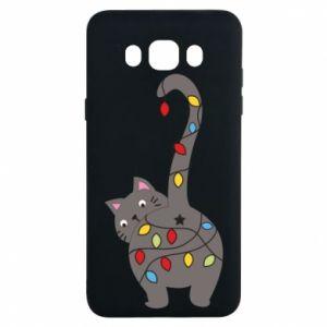 Etui na Samsung J7 2016 Noworoczny kot