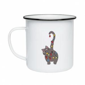 Kubek emaliowane Noworoczny kot