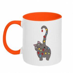 Kubek dwukolorowy Noworoczny kot