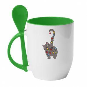 Kubek z ceramiczną łyżeczką Noworoczny kot