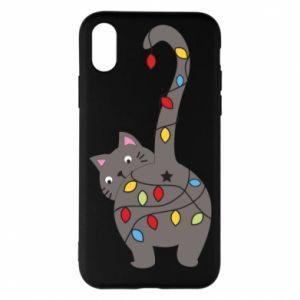 Etui na iPhone X/Xs Noworoczny kot