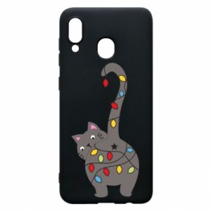 Etui na Samsung A20 Noworoczny kot
