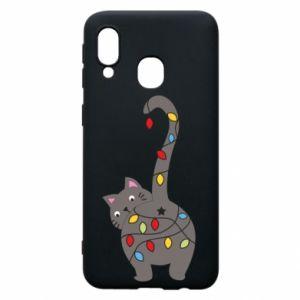 Etui na Samsung A40 Noworoczny kot