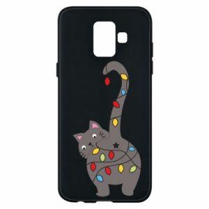 Etui na Samsung A6 2018 Noworoczny kot