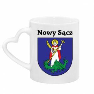 Mug with heart shaped handle Nowy Sacz. Emblem.