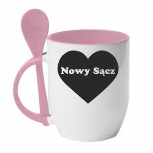 Kubek z ceramiczną łyżeczką Kocham Nowy Sącz - PrintSalon